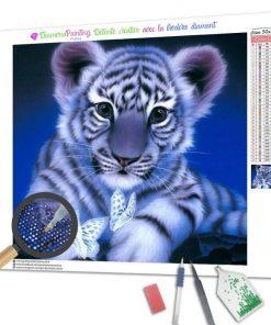 Broderie Diamant Tigre Blanc